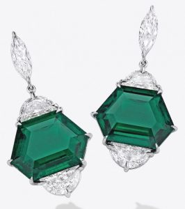 LOT 1696 - FINE PAIR OF EMERALD AND DIAMOND PENDENT EARRINGS