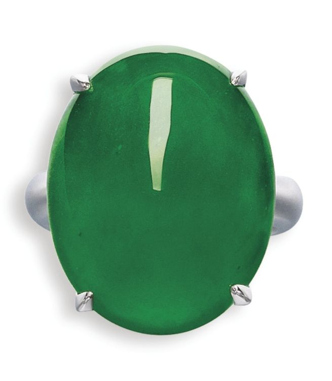 LOT 1631 - IMPORTANT JADEITE AND DIAMOND RING