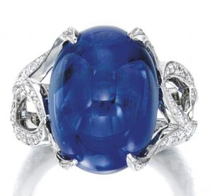 LOT 1859 - FINE SAPPHIRE AND DIAMOND RING, VAN CLEEF & ARPELS
