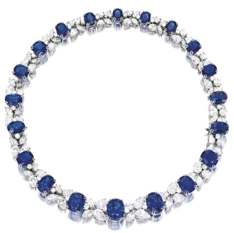 LOT 1842 - IMPRESSIVE SAPPHIRE AND DIAMOND NECKLACE, HARRY WINSTON