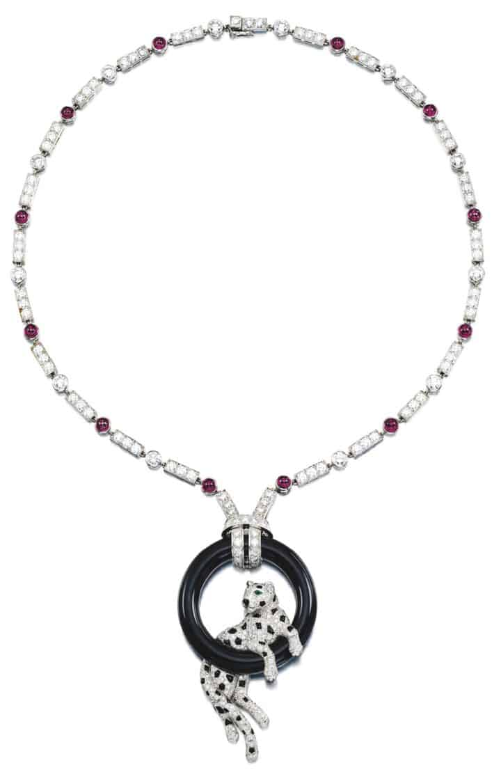 LOT 9210 - DIAMOND, ONYX, RUBY AND EMERALD PENDENT NECKLACE, 'PANTHÈRE', CARTIER