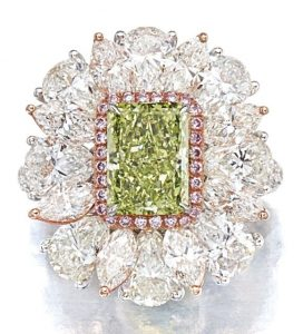 LOT 9192 - ANOTHER VIEW OF THE FANCY INTENSE YELLOW-GREEN DIAMOND AND DIAMOND RING