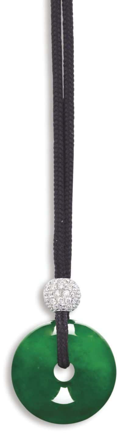 LOT 9200 - JADEITE AND DIAMOND PENDENT NECKLACE