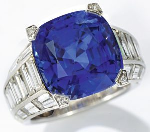 LOT 9209 - SAPPHIRE AND DIAMOND RING, CARTIER