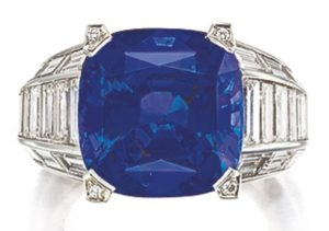 LOT 9209 - ANOTHER VIEW OF SAPPHIRE AND DIAMOND RING, CARTIER