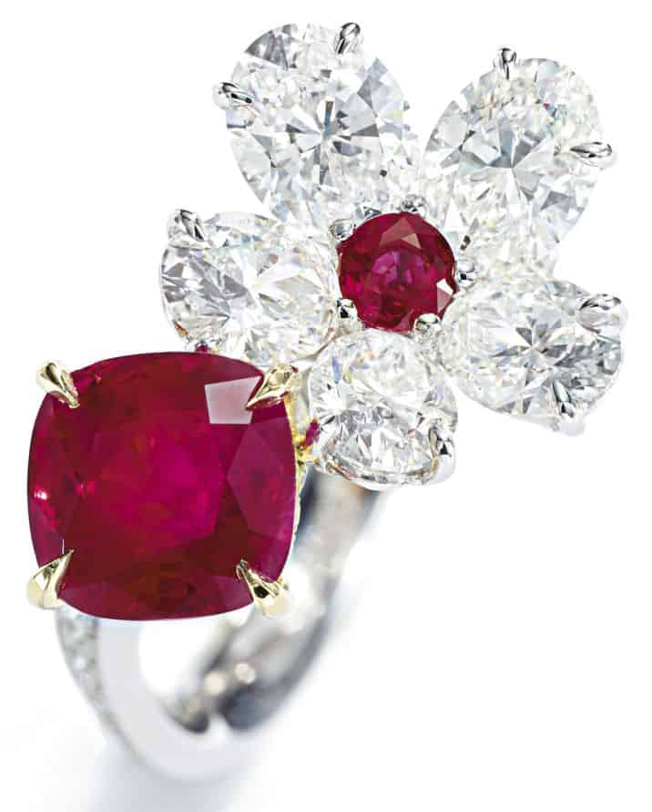 LOT 9124 - RUBY AND DIAMOND RING