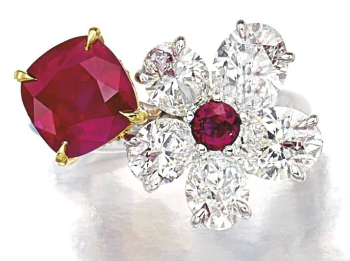 LOT 9124 - ANOTHER VIEW RUBY AND DIAMOND RING