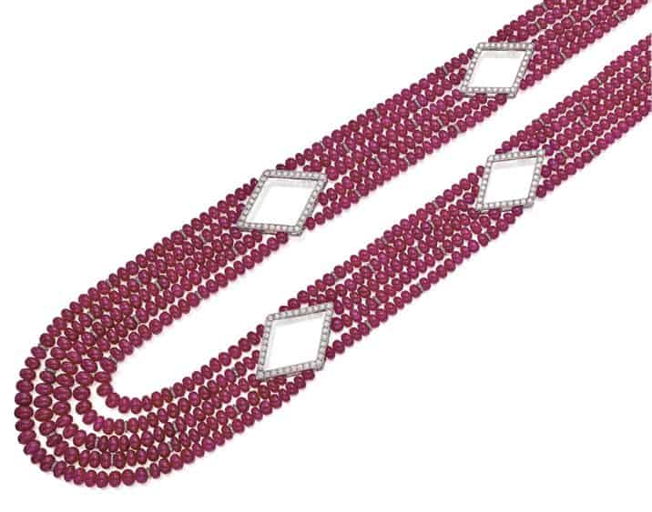 LOT 9113 - RUBY BEAD AND DIAMOND NECKLACE, MICHELE DELLA VALLE