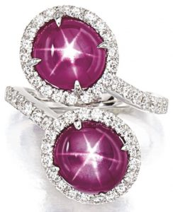 LOT 9189 - STAR RUBY AND DIAMOND RING