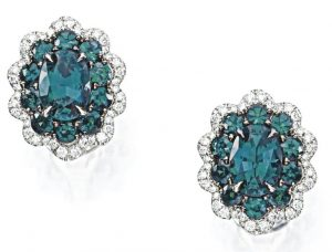 LOT 9162 - PAIR OF ALEXANDRITE AND DIAMOND EARRINGS UNDER DAYLIGHT