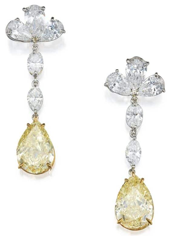 LOT 228 - PAIR OF FANCY YELLOW DIAMOND AND DIAMOND EARRINGS