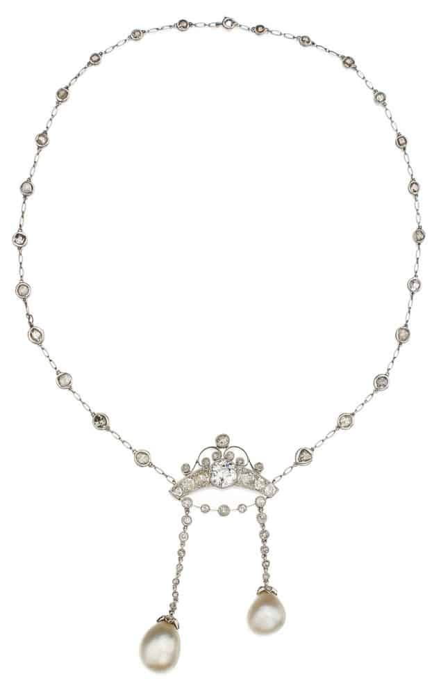 LOT 94 - NATURAL PEARL AND DIAMOND PENDANT-NECKLACE
