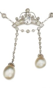 LOT 94 - PENDANT OF NATURAL PEARL AND DIAMOND PENDANT-NECKLACE ENLARGED