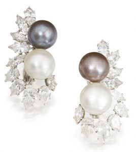 LOT 69 - PAIR OF NATURAL PEARL AND DIAMOND EARCLIPS, HARRY WINSTON