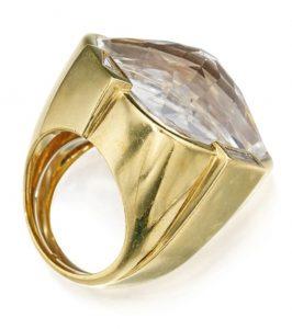 LOT 295 - GOLD, ROCK CRYSTAL AND DIAMOND RING, DAVID WEBB