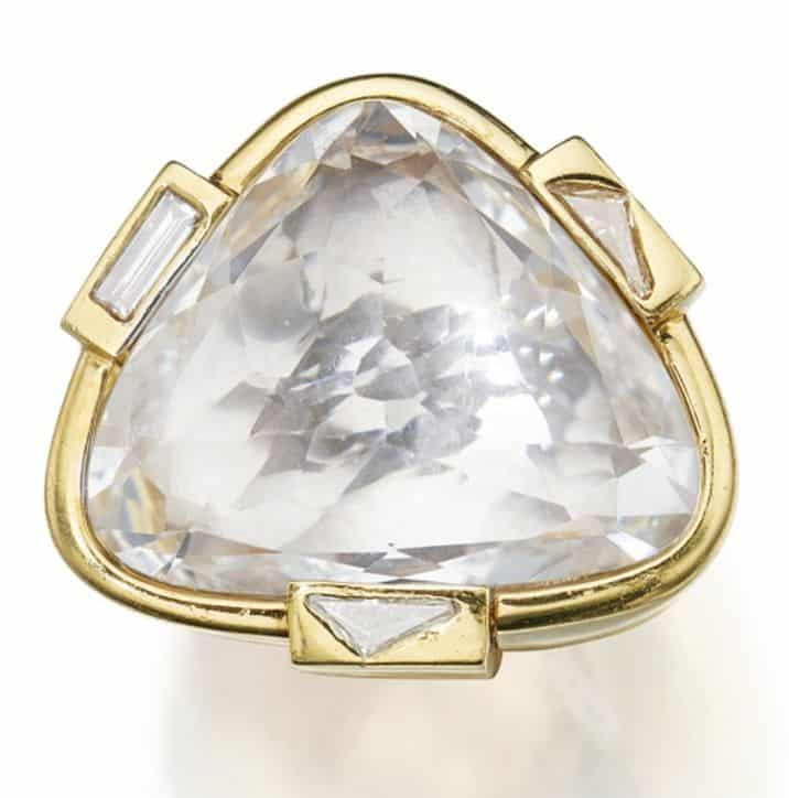 LOT 295 - GOLD, ROCK CRYSTAL AND DIAMOND RING, DAVID WEBB, VIEWED FROM ABOVE