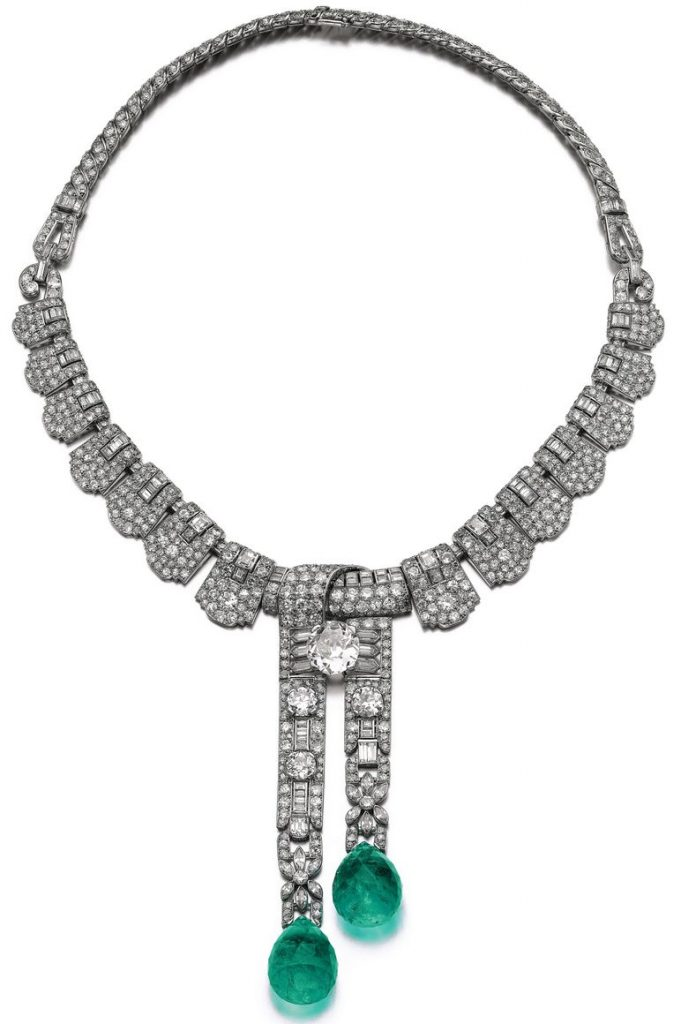 EMERALD AND DIAMOND NECKLACE. CARTIER 1930