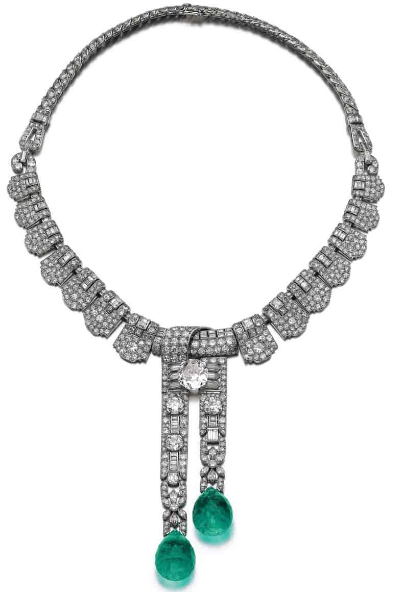 EMERALD AND DIAMOND NECKLACE. CARTIER 1930