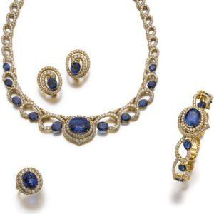 LOT 592 – SAPPHIRE AND DIAMOND PARURE