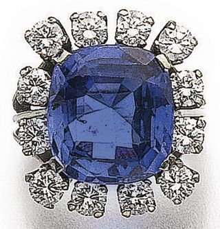 LOT 544 – COLOUR CHANGE SAPPHIRE AND DIAMOND RING