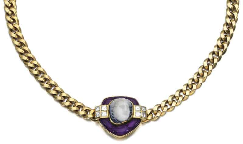 LOT 149 – HARDSTONE, AMETHYST AND DIAMOND NECKLACE, BULGARI, 1970S