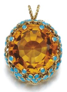 LOT 185 – CITRINE AND TURQUOISE PENDANT, CARTIER, CIRCA 1950