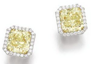 LOT 219 – PAIR OF FANCY YELLOW DIAMOND EARRINGS
