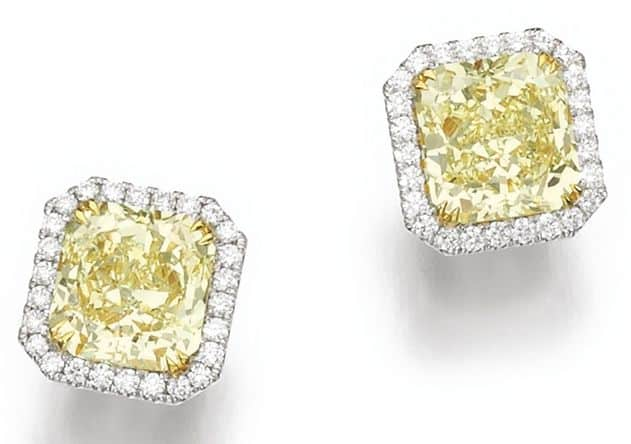 LOT 219 – PAIR OF FANCY YELLOW DIAMOND EARRINGS