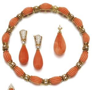 LOT 231 – CORAL AND DIAMOND DEMI-PARURE, VAN CLEEF & ARPELS