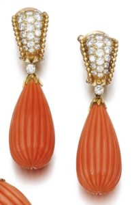 LOT 231- RED CORAL AND DIAMOND PENDANT EARRINGS