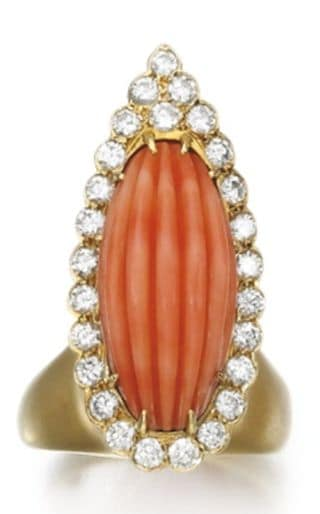 LOT 231 – RED CORAL AND DIAMOND RING