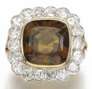 LOT 244 – CHRYSOBERYL AND DIAMOND RING