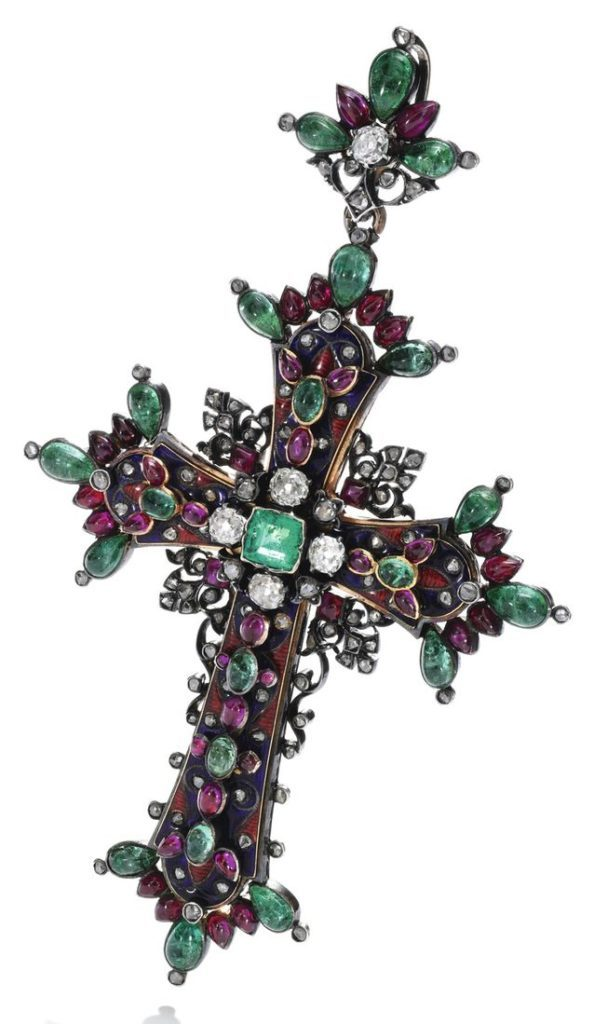 LOT 262 – GEM SET, ENAMEL AND DIAMOND PENDANT, 1850S