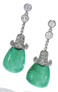 LOT 279 – PAIR OF EMERALD AND DIAMOND EARRINGS, EARLY 20TH CENTURY