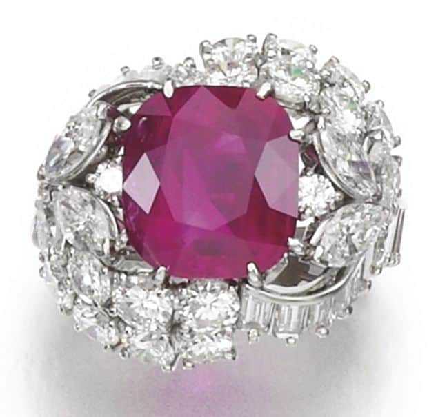 LOT 436 – RUBY AND DIAMOND RING
