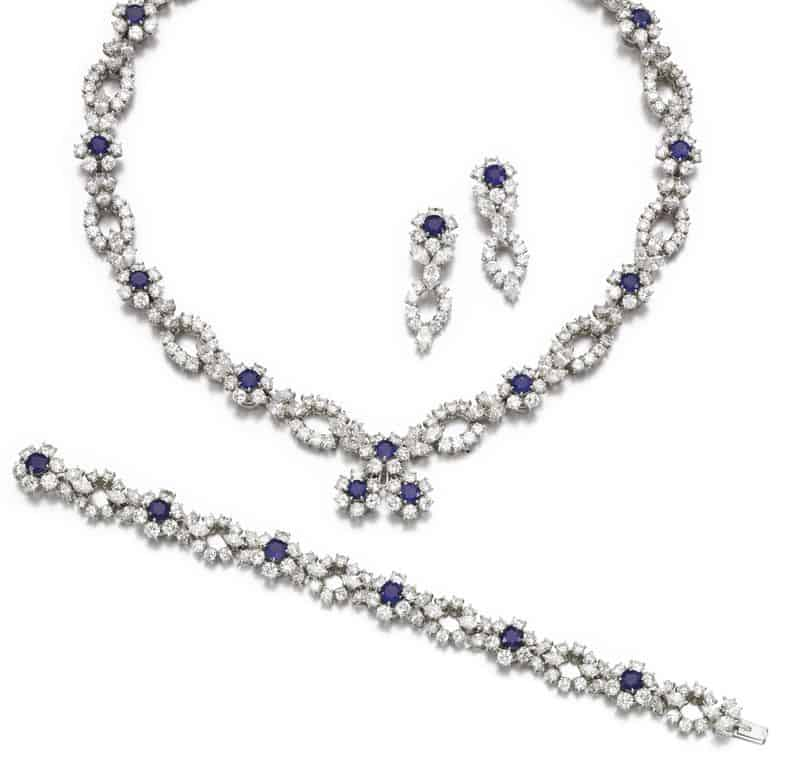 LOT 88 – DIAMOND AND SAPPHIRE PARURE, HARRY WINSTON