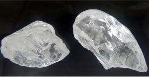 78-CARAT AND 129-CARAT TYPE 2a, D-COLOR ROUGH DIAMONDS RECOVERED FROM BLOCK 6, NOVEMBER 2017