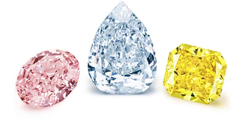 PINK, BLUE AND YELLOW DIAMONDS