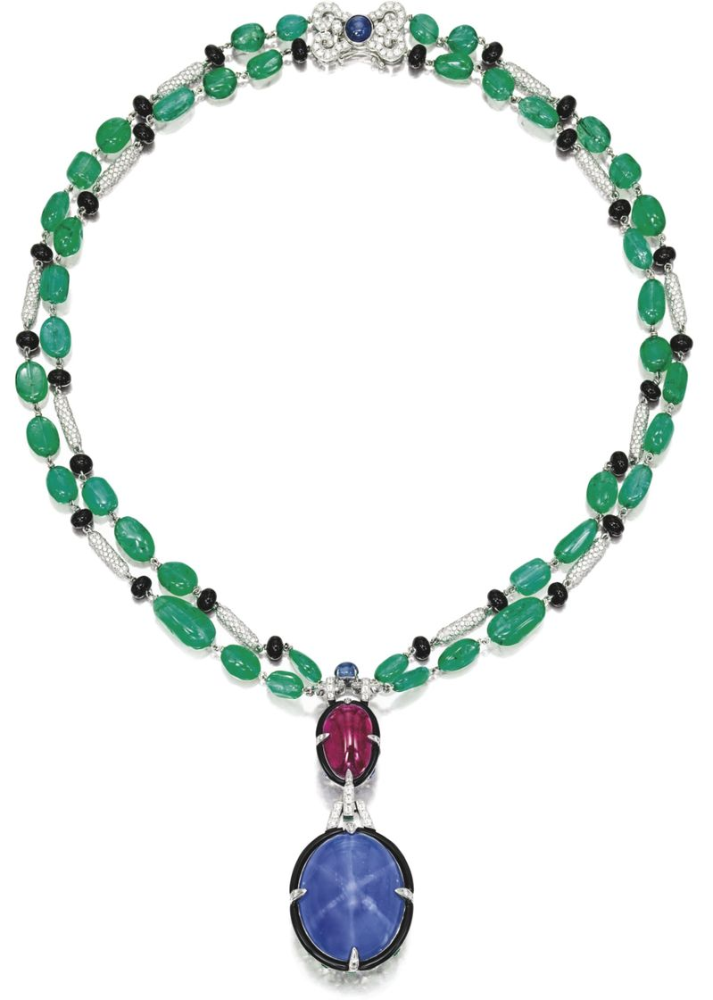LOT 1699 - STAR SAPPHIRE, RUBY, EMERALD AND DIAMOND PENDENT NECKLACE