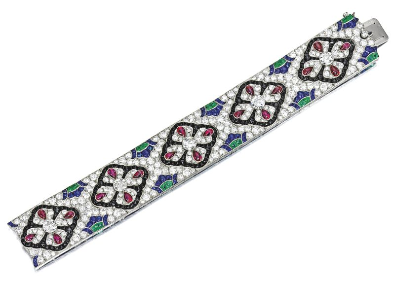 LOT 1783 - RARE AND EXCEPTIONAL GEM SET AND DIAMOND BRACELET, VAN CLEEF & ARPELS