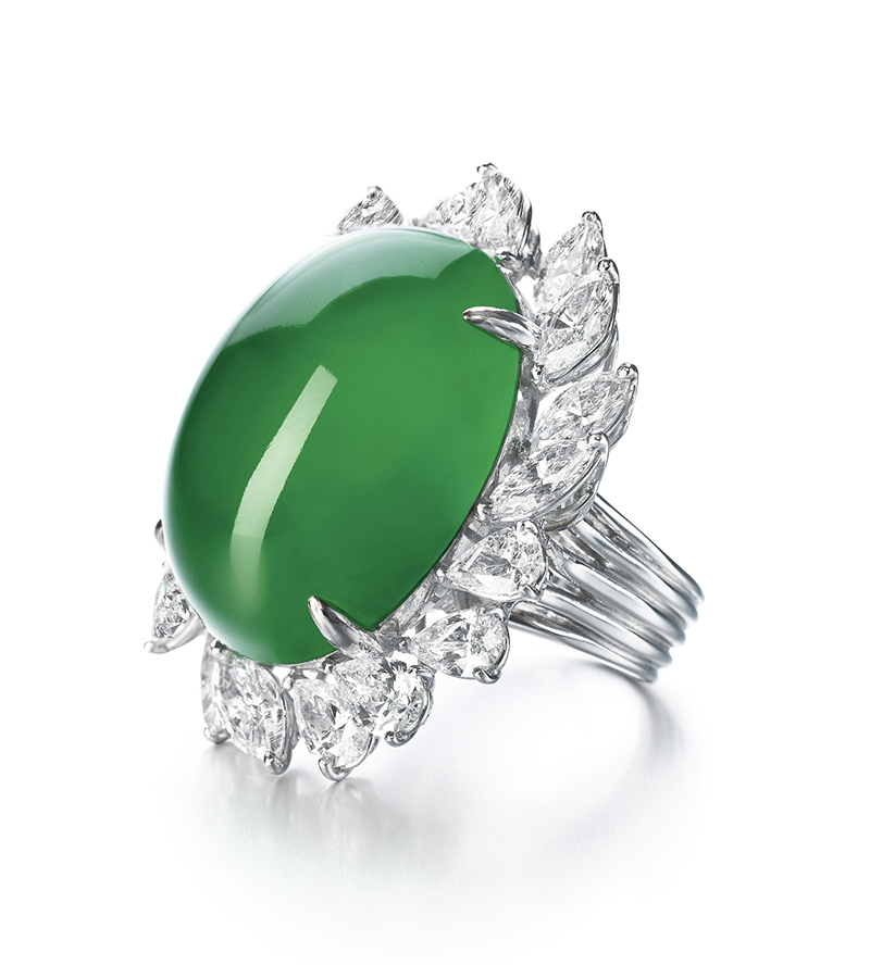 LOT 1770 - EXCEPTIONAL JADEITE AND DIAMOND RING