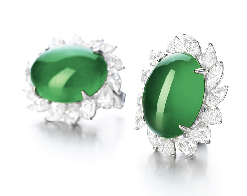 LOT 1769 - AN IMPORTANT PAIR OF JADEITE AND DIAMOND EARRINGS