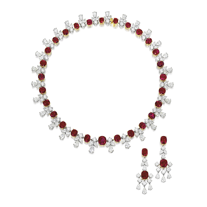 LOT 1610 - AN ATTRACTIVE RUBY AND DIAMOND DEMI-