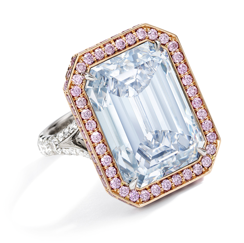 LOT 1776 and titled RARE AND IMPORTANT FANCY BLUE DIAMOND AND DIAMOND RING