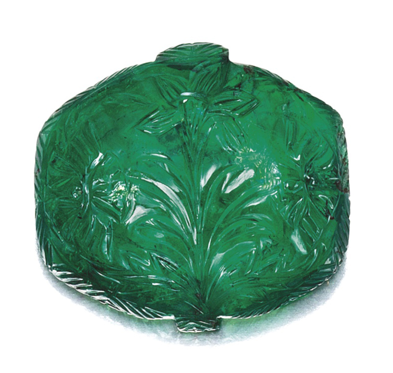 LOT 1746 - A RARE MUGHAL CARVED EMERALD, 17TH CENTURY
