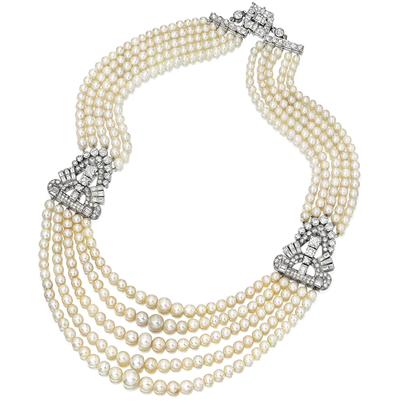 LOT 1747 - AN IMPRESSIVE NATURAL PEARL AND DIAMOND NECKLACE