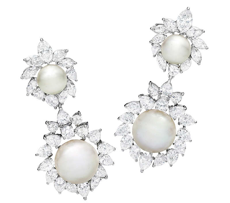 LOT 1772 - PAIR OF NATURAL PEARL AND DIAMOND PENDENT EARRINGS