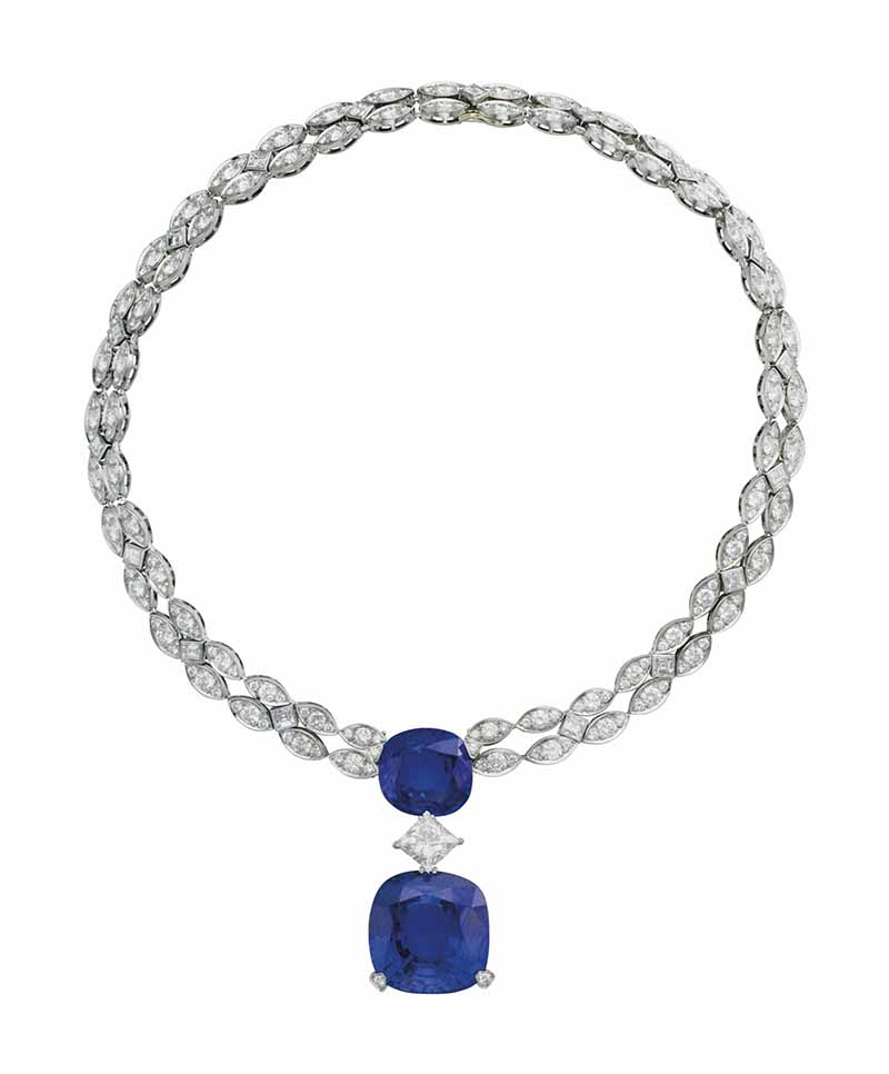 is LOT 72 - AN IMPORTANT SAPPHIRE AND DIAMOND NECKLACE, BY CARTIER