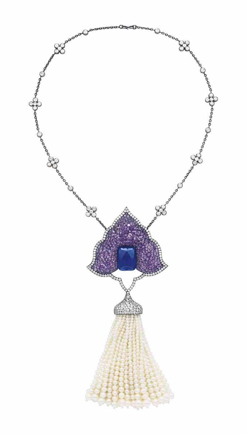 LOT 166 - A SUPERB MULTI-GEM AND DIAMOND 'MOGHUL' PENDANT-BROOCH, BY JAR,