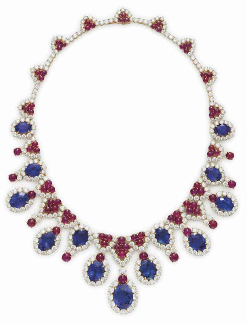 LOT 84 - A SAPPHIRE, RUBY AND DIAMOND FRINGE NECKLACE, BY BULGARI